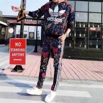 Adidas Women Casual Fashion Multicolor Peacock Floral Print Hooded Long Sleeve Trous
