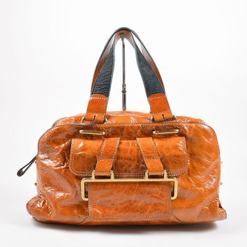 Dark Tan Patent Leather Flap Pocket Satchel Bag