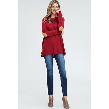 Cowl Neck Top with Elbow Patches - Burgundy