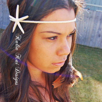 Boho Chic White Starfish Headband with feather dangles, braided band, real starfish, real feathers, boho, hippie, summer, fun