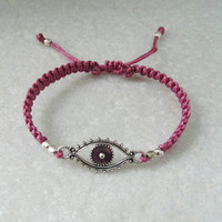 Rose Bracelet, Good luck jewelry, silver evil eye bracelet hand knotted friendship bracelet