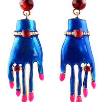 Polished Nail Hand Earrings