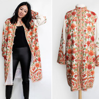 Vintage Boho Chic Russian Folk Style Embroidered Wool Coat - Size Large To Extra Large