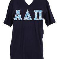 Alpha Delta Pi Lilly Lucky Trunks Stitched Letter Tshirt