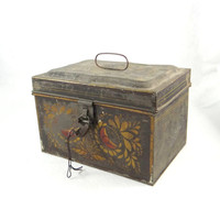 Antique Metal Box with Original Lock and Key from 1890s