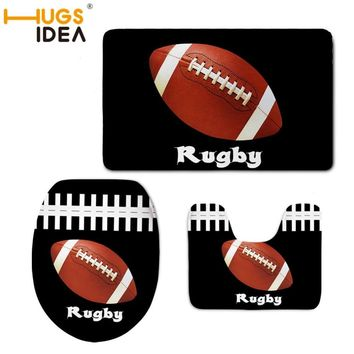 HUGSIDEA Rugby Print 3pcs Bath Mat Flannel Absorbent Non Slip Doormat Soft Bathroom Toilet Seat Cover Warmer Closestool Pad Mat