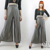Vintage 70s High Waisted Silver Metallic Palazzo Pants XS S Disco Pants High Waisted Pants High Waist Pants Metallic Pants Silver Pants