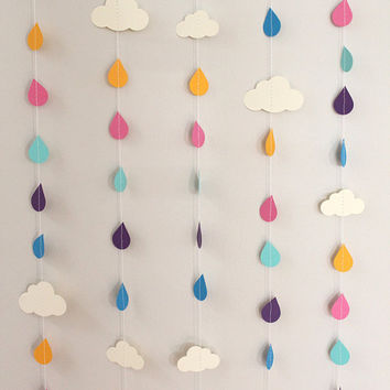 Rainbow Raindrops and Clouds Paper Garland - April Showers, Baby Showers, party decorations