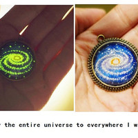 The galaxy necklace glow in the dark after UV absorption necklace noctilucent necklace sweater necklace friendship love gifts unique gifts