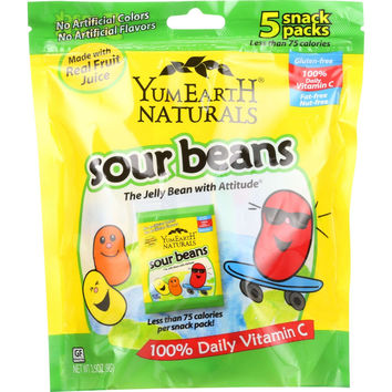 YumEarth Organics Jelly Beans - Sour - Natural - 5/.7 oz - case of 12