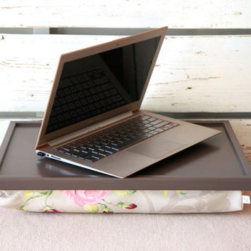 Laptop Lap Desk or wooden Breakfasts in Bed serving Tray - Greyish brown with Rose Floral print Pillow