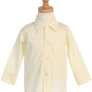(Sale) Boys Size 6 Ivory Long Sleeve Button Down Dress Shirt