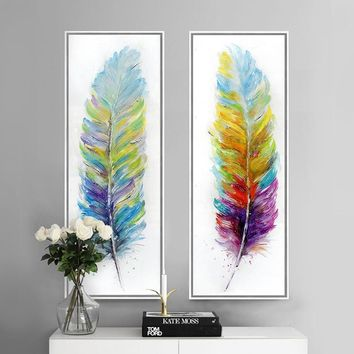 Pluma painting Color feather hand painted canvas art print modern  picture home decoration wall art decoracion hogar picture