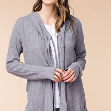 Charcoal Ribbed Hoodie Cardigan