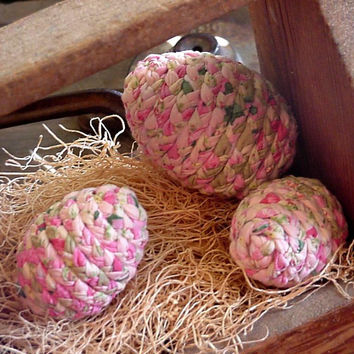 Shabby Decorative Eggs Pink Sage Green Fabric Colored Eggs Cottage Chic Country Farmhouse Home Decor set of 3 itsyourcountry
