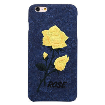 OPAL FERRIE - Chic Rose Embroidery Case for iPhone 6 6S 7 Art Handmade Elegant Flower Retro Cover