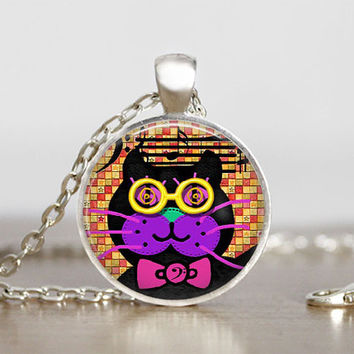 Glass Tile Pendant Cat Necklace Musical Cat Pendant Musical Cat Jewelry Cat Necklace Cat Music Lover Gift 1 inch Round