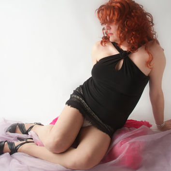 Sexy Crossdresser Black Halter and Mini Skirt, drag, bi, sissy