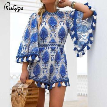 Ruiyige 2017 Summer Women Girl Sexy Embroidery Print Jumpsuit Lace See Through Tassel O Neck Tunic Beach Casual Long Sleeve