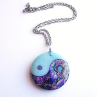 Yin Yang Necklace, Unusual Stone Jewelry, Amazonite, Soft Blues, Purples, Circle of Life