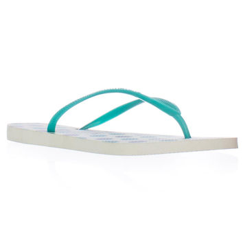 Havaianas Slim Flip Flops - White Lake Green