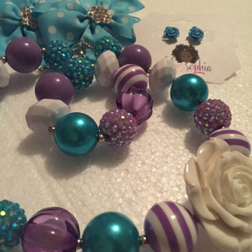 8 PC Teal, Lavender and White Hair Bow, Earring, Chunky Bead Bubble Gum Necklace Little Girl Jewelry Set
