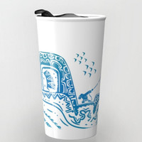 maui's tattoos moana disney blue hawaiian pattern travel mug