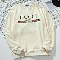 GUCCI fashion brand bar logo sweater F-GQHY-DLSX White