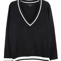 LE3NO Womens Deep V Neck Long Sleeve Loose Knit Boyfriend Sweater (CLEARANCE)