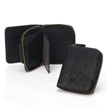 Men Zippers Leather Storage Big Capacity Vintage Black Wallet [9026285443]