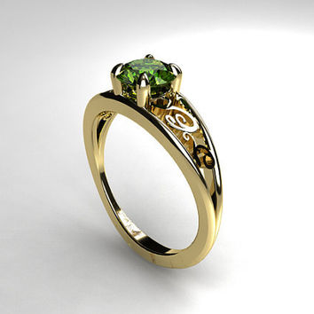 Peridot engagement ring, filigree, white gold, yellow gold, unique engagement, green, peridot engagement, wedding ring, vintage, gemstone