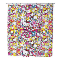 Sticker Bomb Hello Kitty custom Shower Curtains
