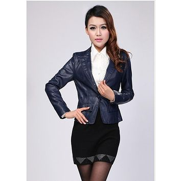 Hot !!! free shipping new styles women short paragraph Slim Genuine Leather coat sheep Peacey Collar Jacket,L--5XL