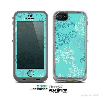 The Blue Swirled Abstract Design Skin for the Apple iPhone 5c LifeProof Case