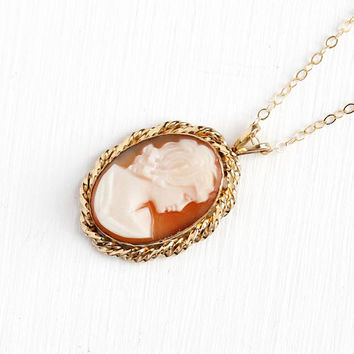 Vintage Cameo Necklace - 14k Rosy Yellow Gold Filled Carved Shell Pendant - 1950s Oval Coiled Jewelry Mid Century Jewelry Signed VD