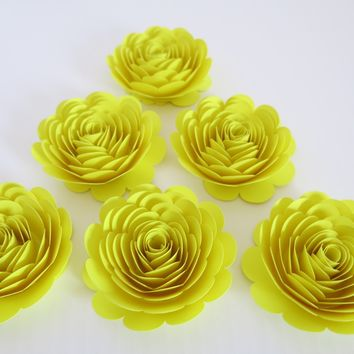 "Neon Yellow Paper Flowers, 3"" Roses, Set of 6, Lemon Baby Shower Decorations, Wedding Table Decorating Ideas, Bridal Shower Decor, Skate"