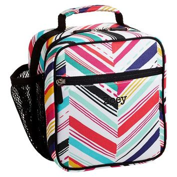 Gear-Up Diagonal Stripe Classic Lunch With Mesh Side Pocket