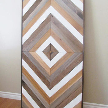 Wood Wall Art, Chevron Wall Art, Reclaimed Wood Wall Hanging, Table Top, Wall Sculpture, Chevron Wood, Salvaged Wall, Geometric Wood Art