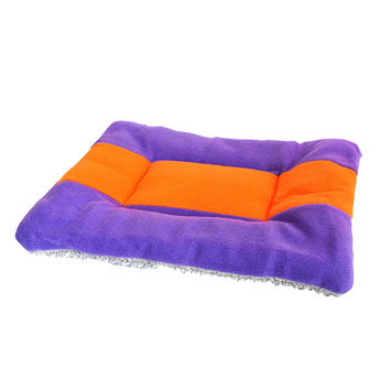 Pet Bed Cotton Soft Fleece Pet Dog Kennel Cat Puppy Bed Mat Kennel Cushion Red-Purple Puppy Mat Pad House Cushion S~XL Size