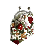 Clutch Wallet - Kiss Lock Purse with cards slot - Cosmetic Bag - Silver Frame - Frame Coin Purse - Floral Cotton Purse