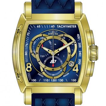 Invicta S1 Rally Chronograph Blue Dial Blue Leather Mens Watch 17008