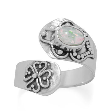 Sterling Silver Genuine Ethiopian Opal Wrap Ring