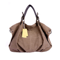 Khaki Casual Large Capacity Shoulder Canvas Handbag Totes for Women