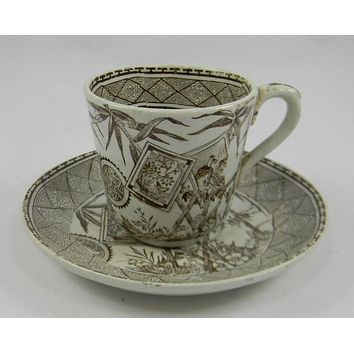 Antique Brown Transferware Demitasse Cup and Saucer  J M & Son Bamboo Victorian Pottery Staffordshire China England