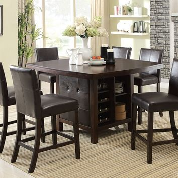 Acme 07250-70357 7 pc Bravo espresso finish wood counter height center pedestal dining table set