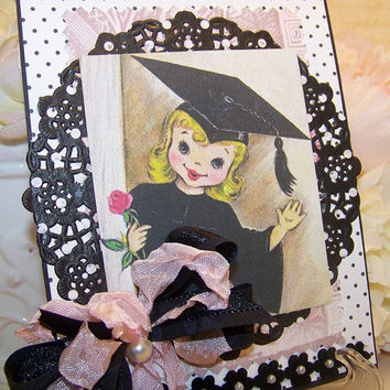Graduation Card for Girls Vintage Retro Style