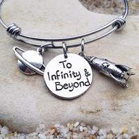Bangle - Bracelet - Jewelry - Disney - Toy Story - Hand Stamped - Stamped Jewelry - Quote - To Infinity and Beyond - Custom - Rocket