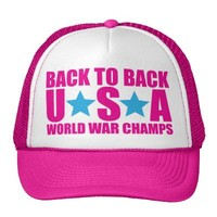 Back to Back USA World War Champs Hat Pink & Blue from Zazzle.com