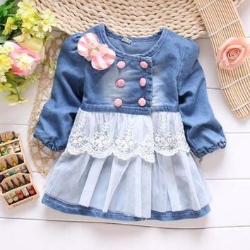 spring kid's girls baby children coat jacket outwear washed denim jeans  lace bow princess coat  S0861