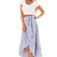 White and Ocean Blue Striped Wrap Skirt with Ruffle Detail